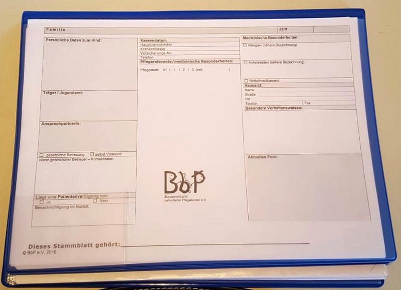 BbP-Dokumentationsmappe Stammblatt