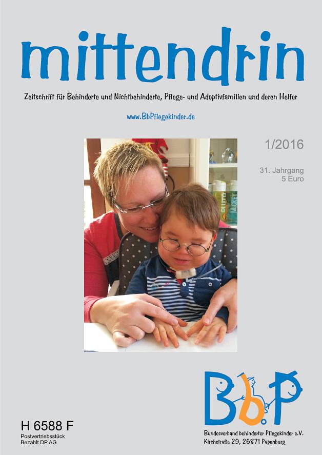 """Titelblatt 1/2016 der Zeitschrift """"mittendrin"""""""