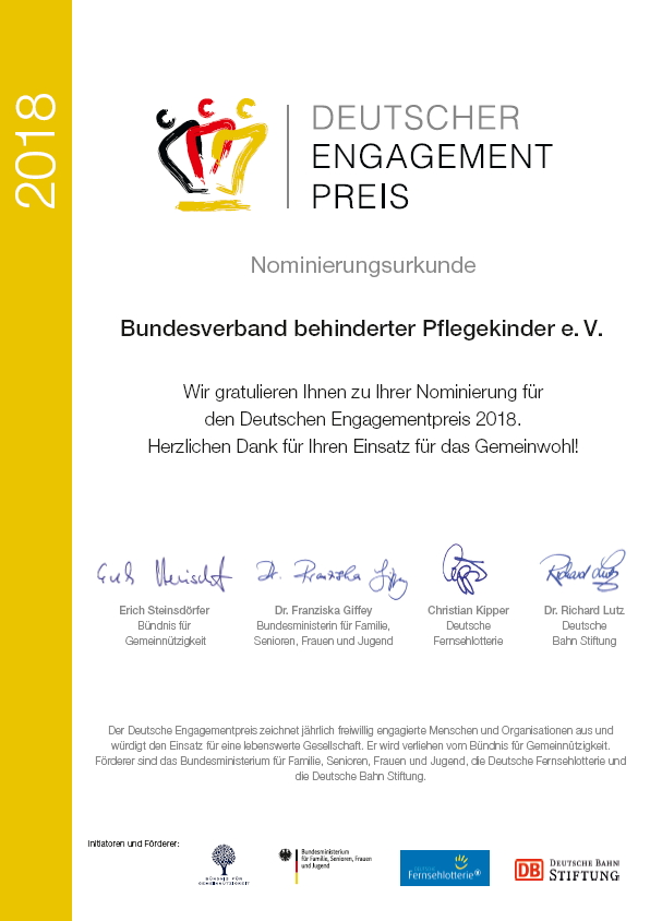 Nomierungsurkunde Deutscher Engagementpreis