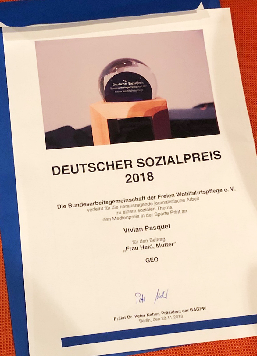 Urkunde Sozialpreis 2018