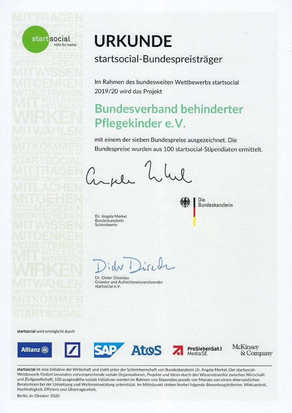 Die Urkunde für den BbP als startsocial-Bundespreisträger 2019/2020.