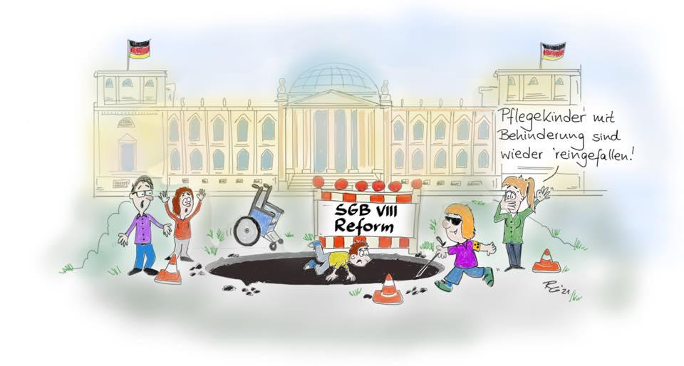 SGB-VIII-Reform: Pflegekinder mit Behinderung sind wieder reingefallen! [Karikatur: BbP/Robert Gurthat]